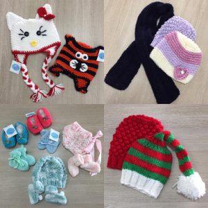 Toucas, sapatinhos, cachecol, mantas e sapatinhos de lã